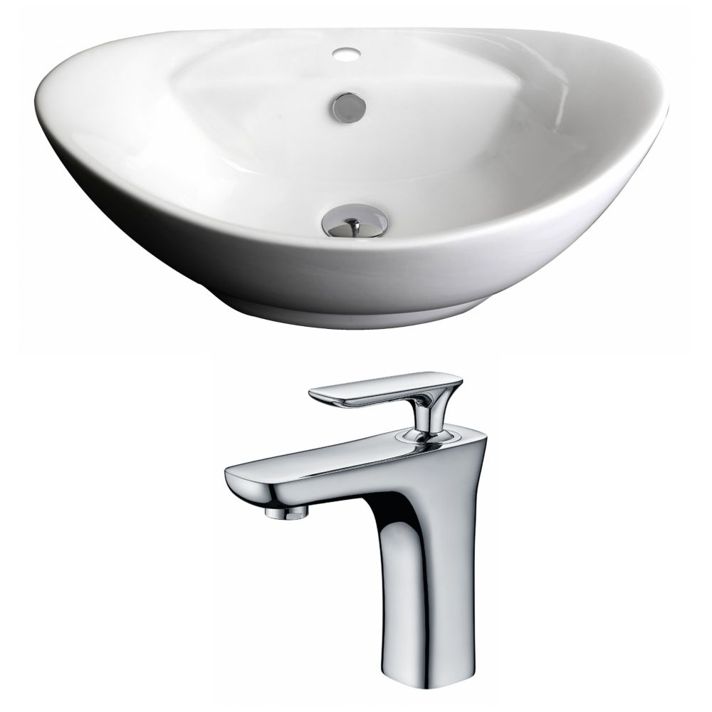 23-inch W x 15-inch D Oval Vessel Sink in White with Faucet
