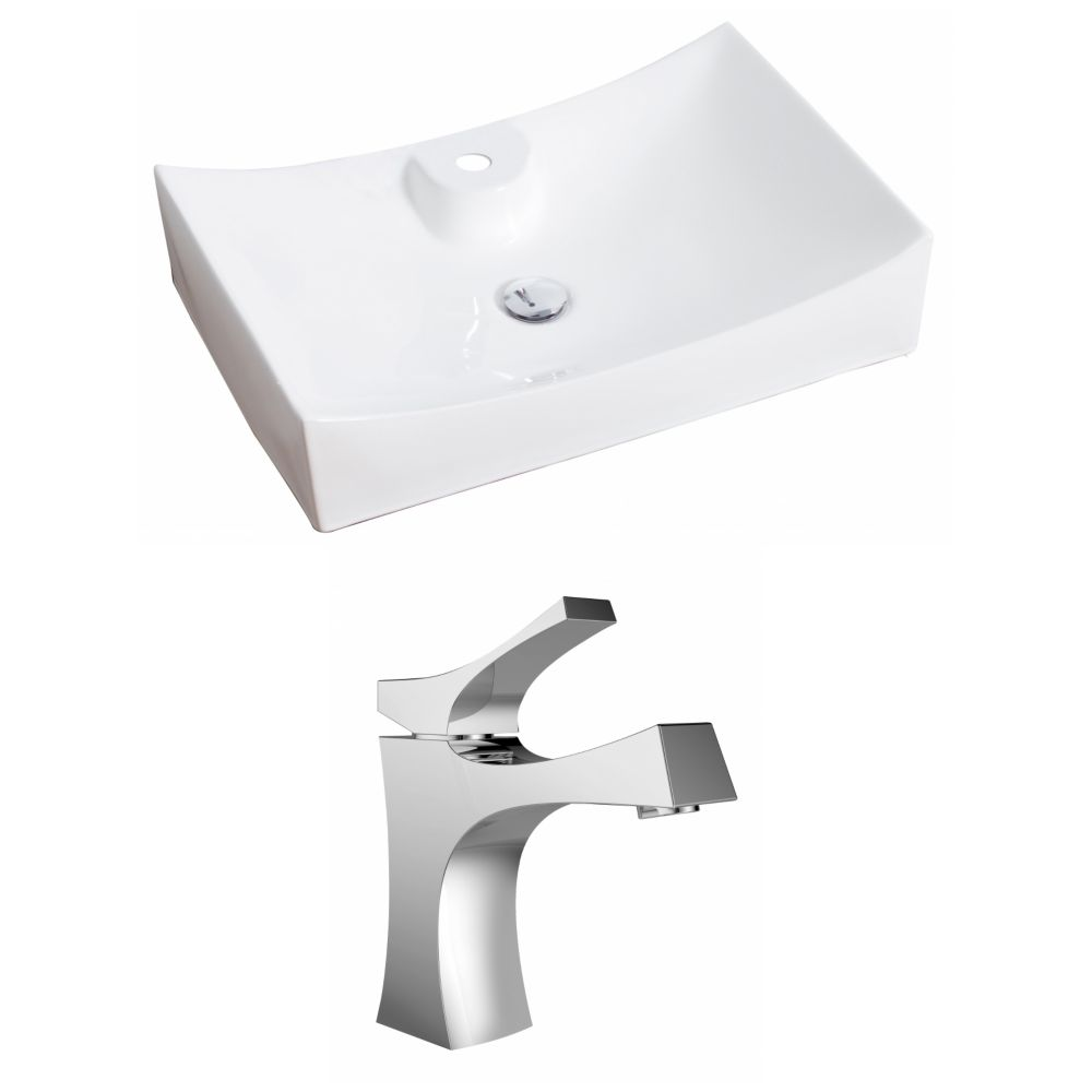 27-in. W x 18 po. D Rectangle navire Set In White Couleur Avec Single Hole CUPC Robinet