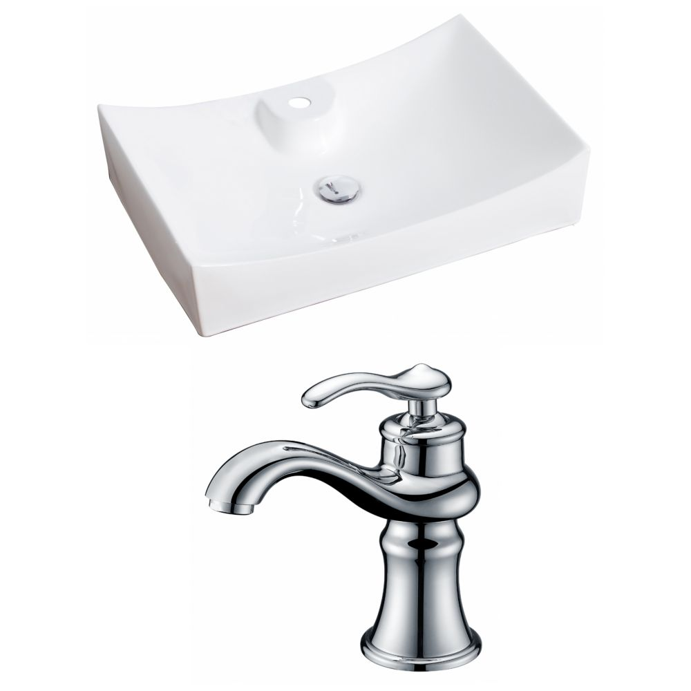 American Imaginations 27-inch W x 18-inch D Rectangular Vessel Sink in White with Faucet