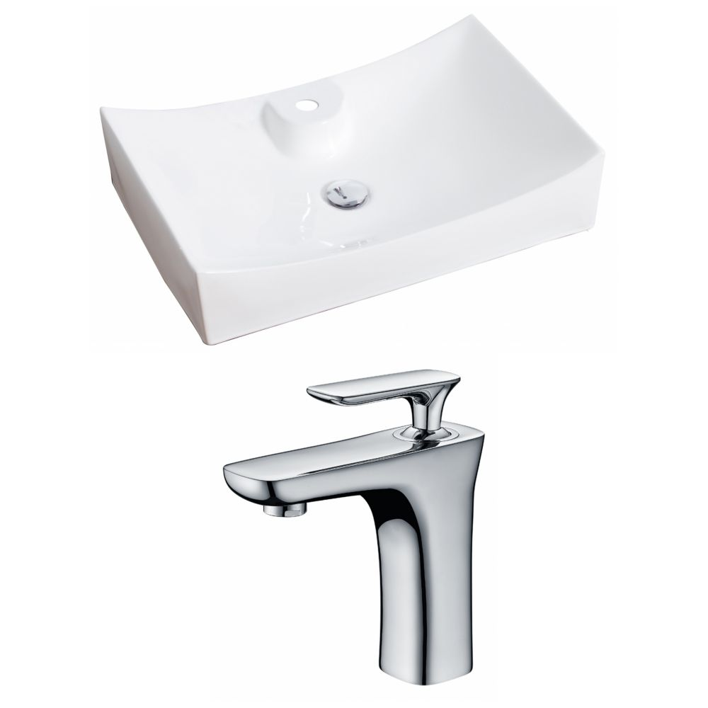 27-inch W x 18-inch D Rectangular Vessel Sink in White with Faucet