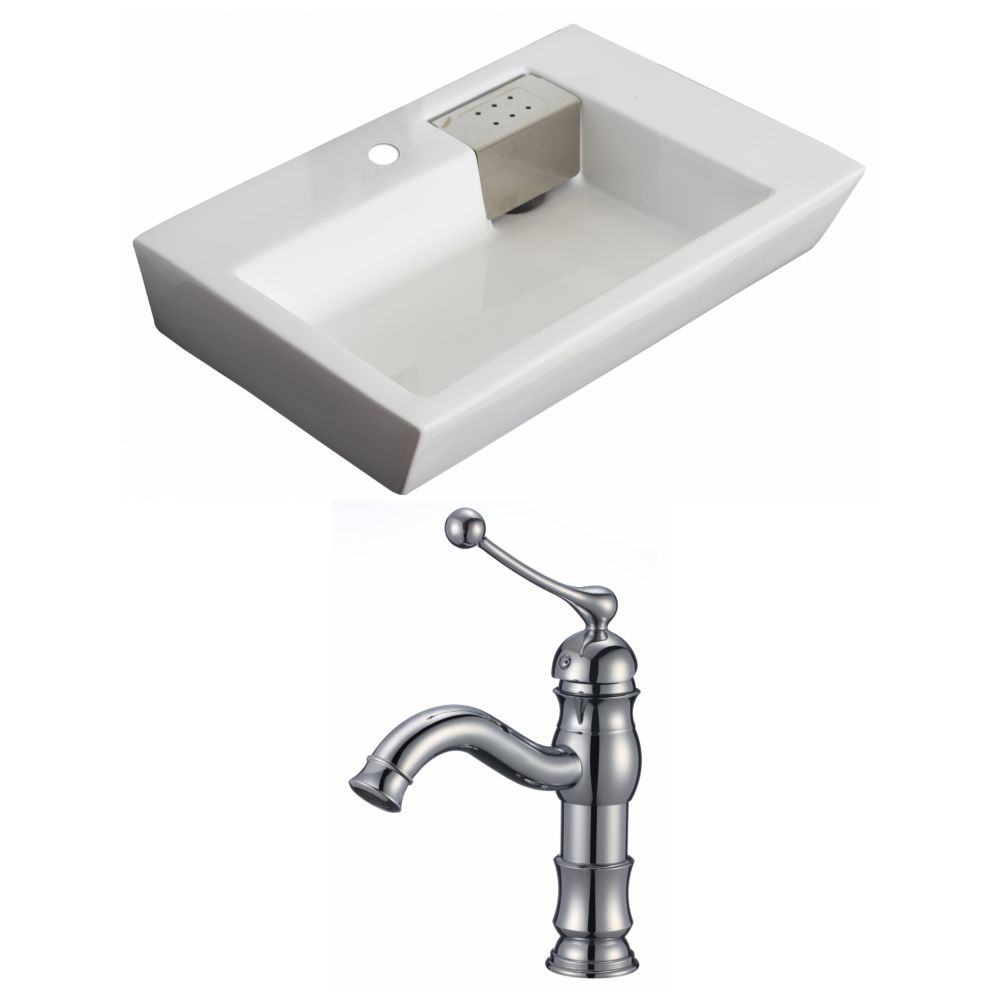 26-inch W x 18-inch D Rectangular Vessel Sink in White with Faucet