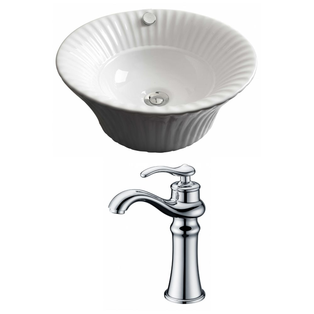 American Imaginations 17-inch W x 17-inch D Round Vessel Sink in White with Deck-Mount Faucet