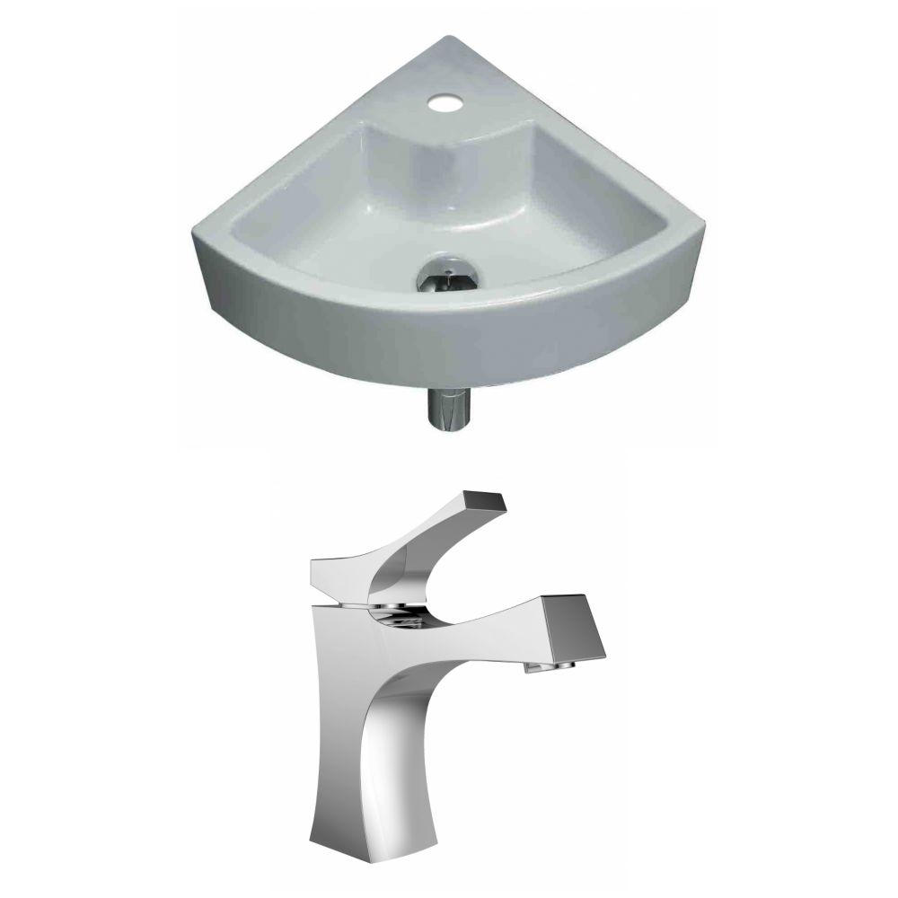 19-inch W x 19-inch D Vessel Sink in White with Faucet