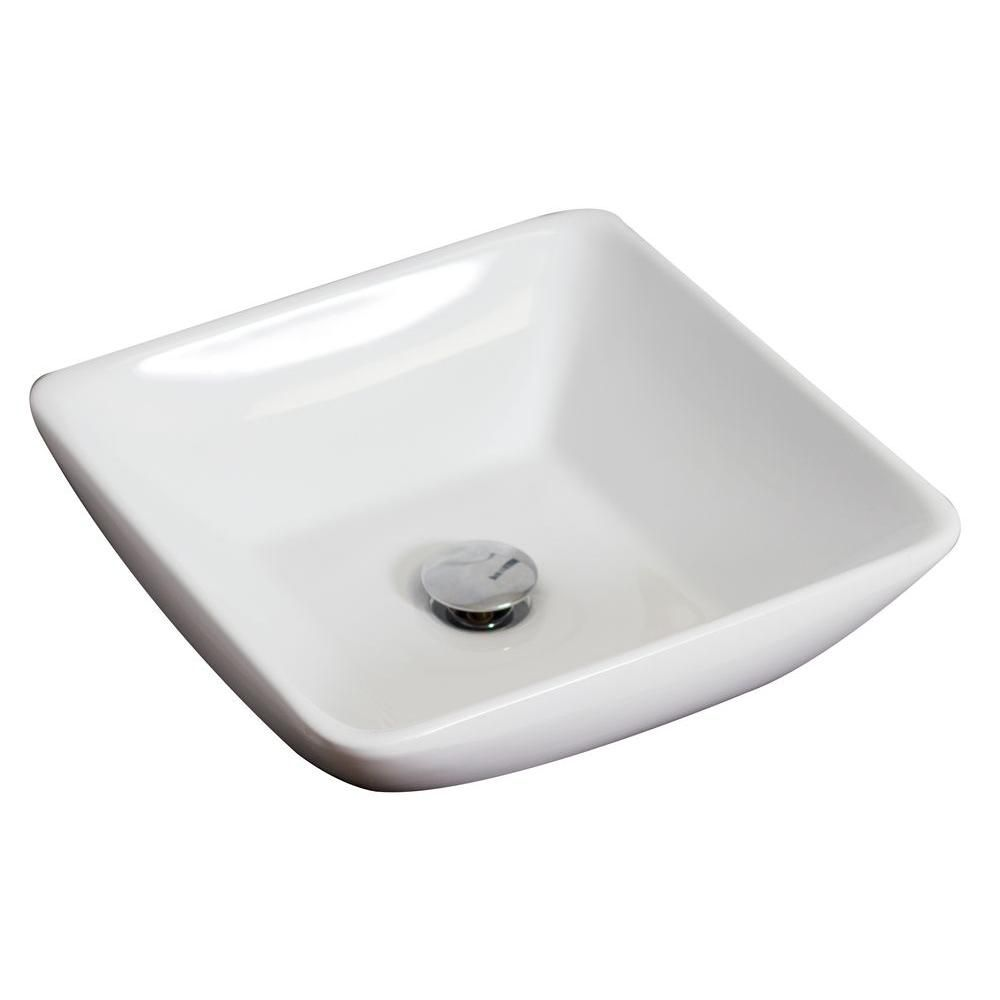 16-Inch W x 16-Inch D Above Counter Square Vessel In White Color For Wall Mount Faucet AI-14021 Canada Discount
