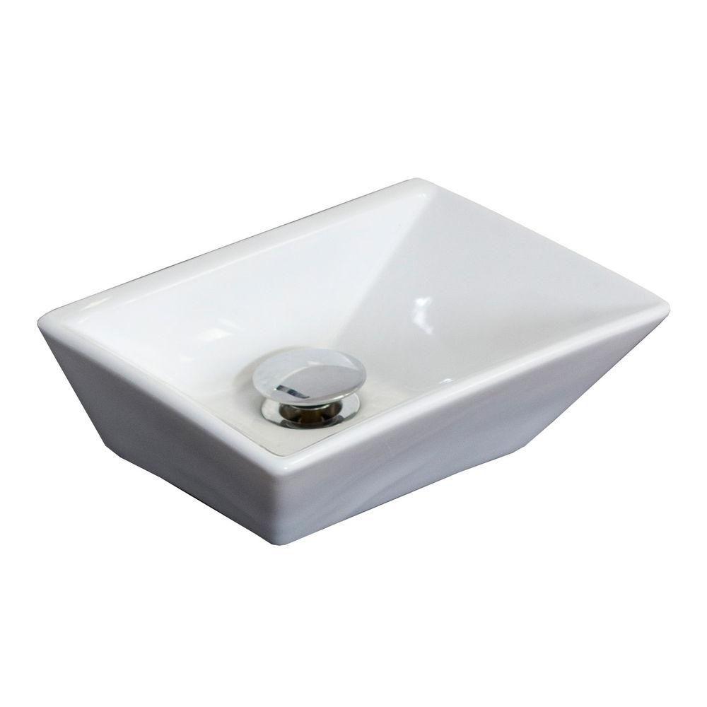 12-inch W x 9-inch D Rectangular Vessel Sink in White