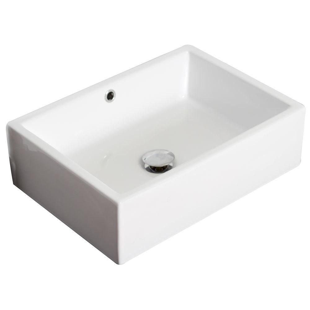 20 Inch W X 14 Inch D Rectangular Vessel Sink In White