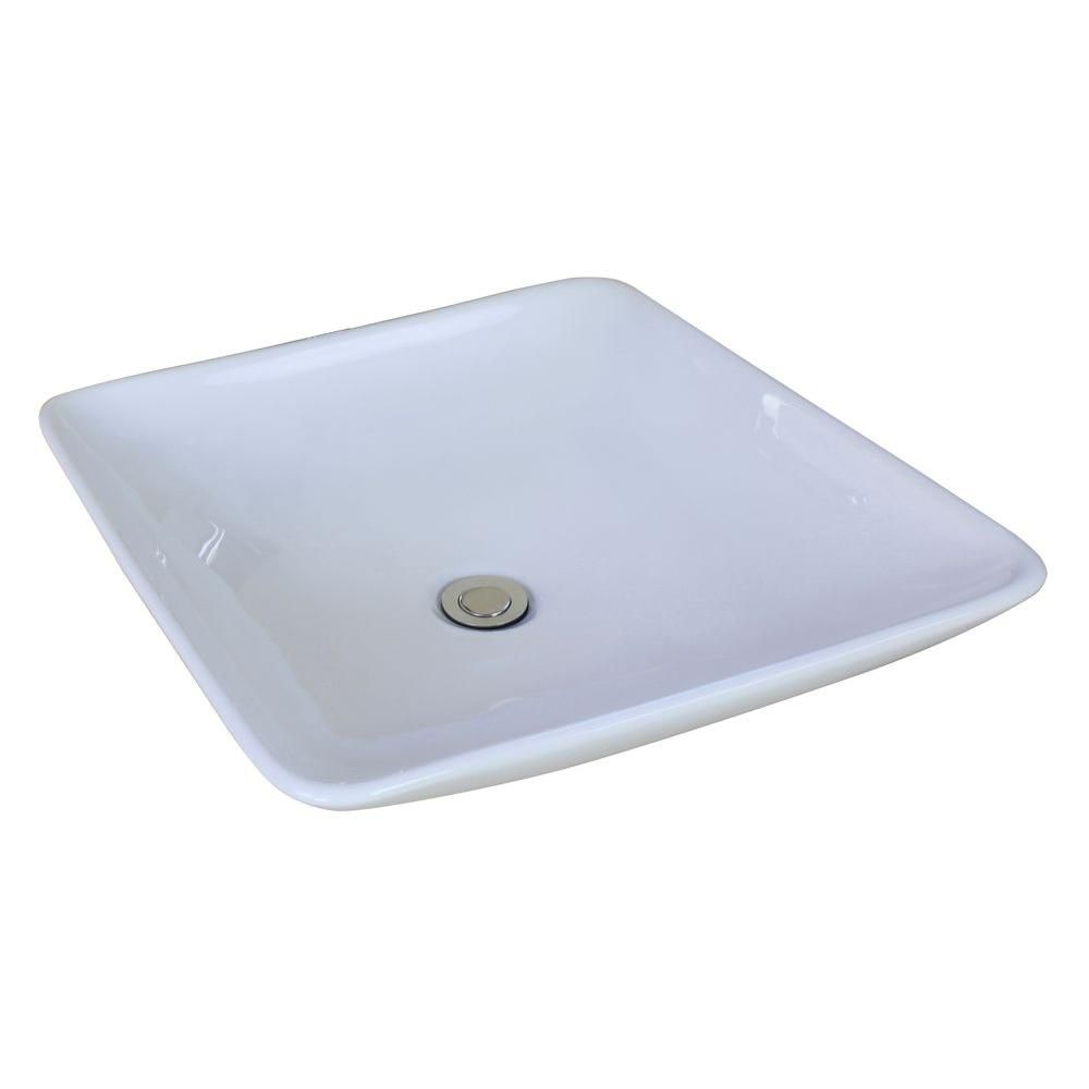 American Imaginations 19 5/8-inch W x 19 5/8-inch D Square Vessel Sink in White