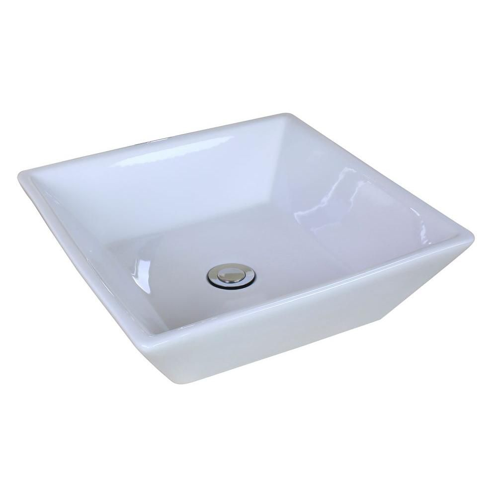 16 1/8-inch W x 16 1/8-inch D Square Vessel Sink in White