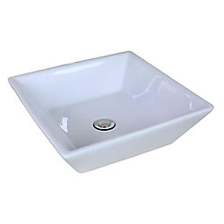American Imaginations 16 1/8-inch W x 16 1/8-inch D Square Vessel Sink in White