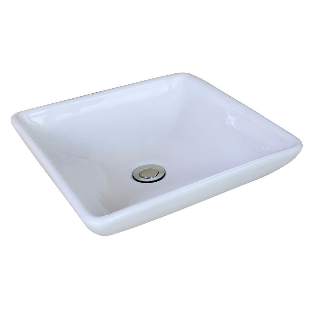 15 3/4-inch W x 15 3/4-inch D Square Vessel Sink in White