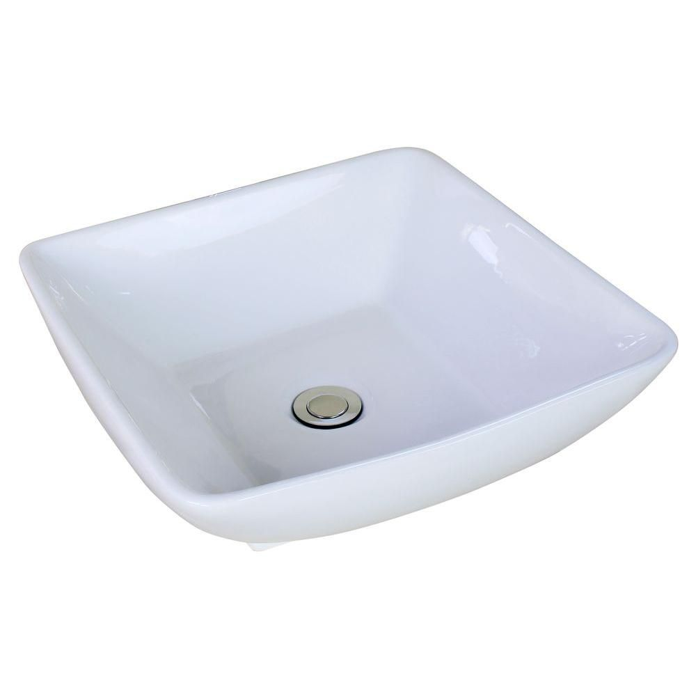 16 1/2-inch W x 16 1/2-inch D Square Vessel Sink in White