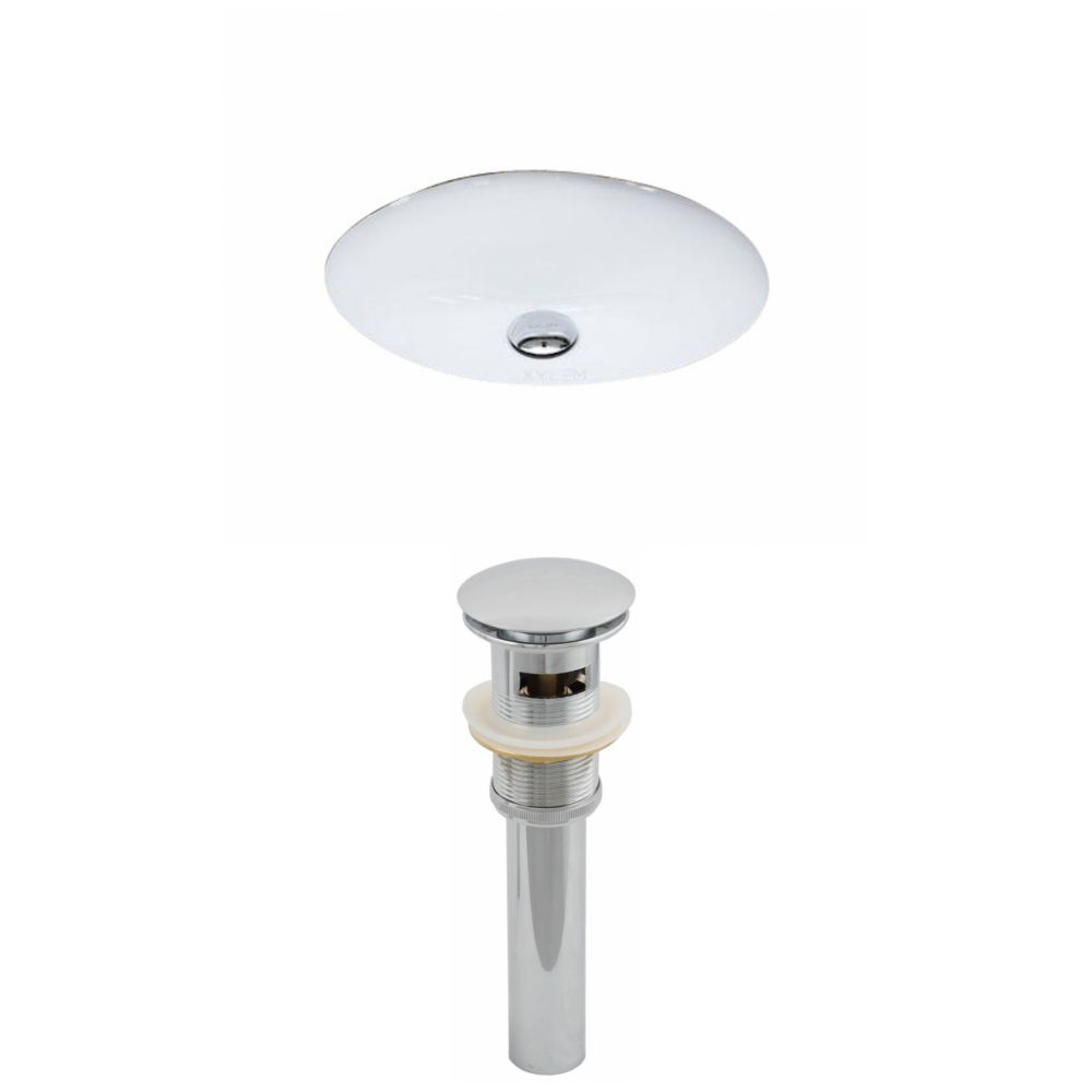 19 1/2-inch W x 16 1/4-inch D Oval Undermount Sink with Drain in White