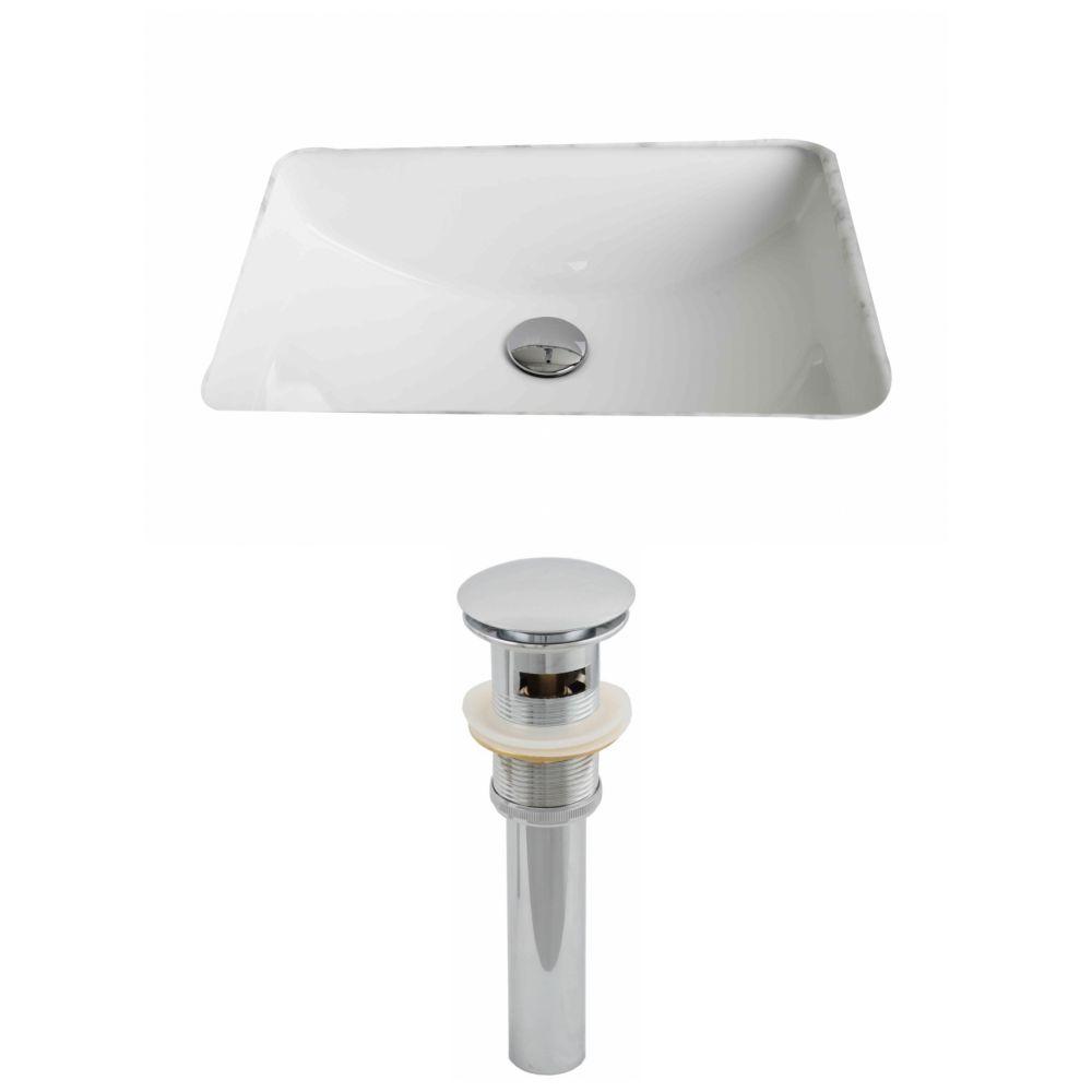 20 3/4-inch W x 14 7/20-inch D Rectangular Undermount Sink Set with Drain in White