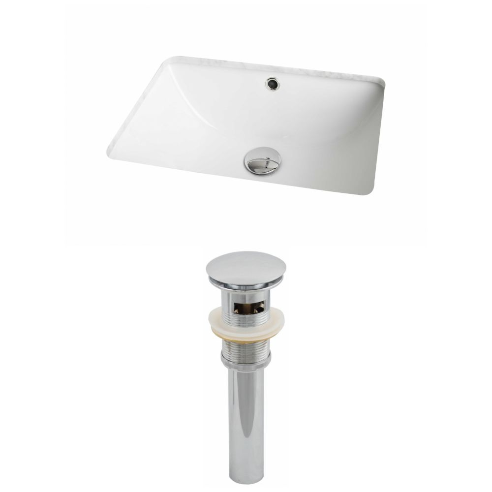 18 1/4-inch W x 13 1/2-inch D Rectangular Undermount Sink Set with Drain in White