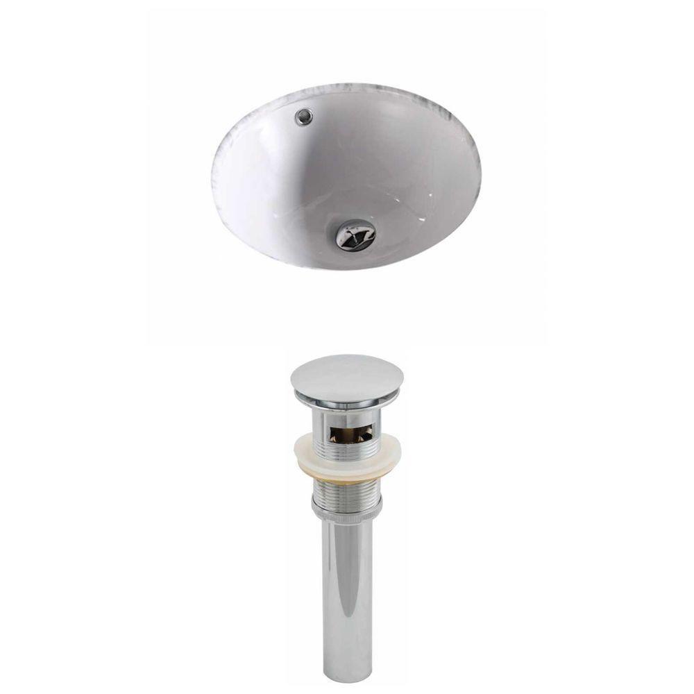 15 3/4-inch W x 15 3/4-inch D Round Undermount Sink with Drain in White