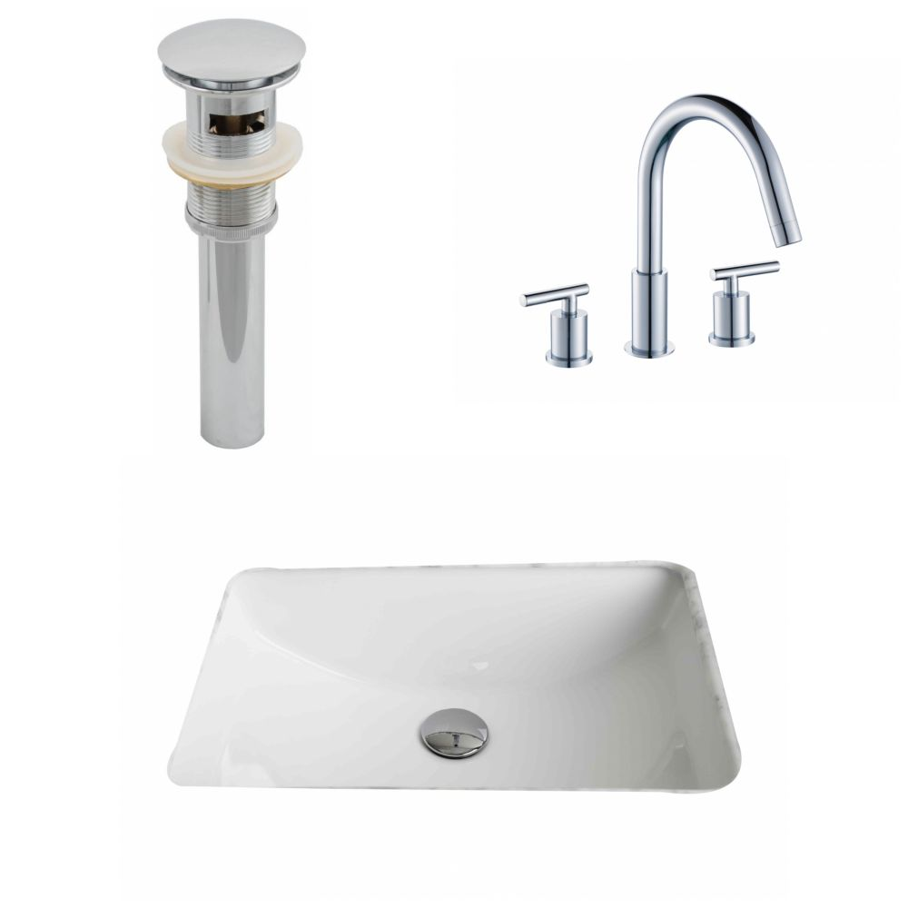 20 3/4-inch W x 14 7/20-inch D Rectangular Sink Set with 8-inch O.C. Faucet and Drain in White