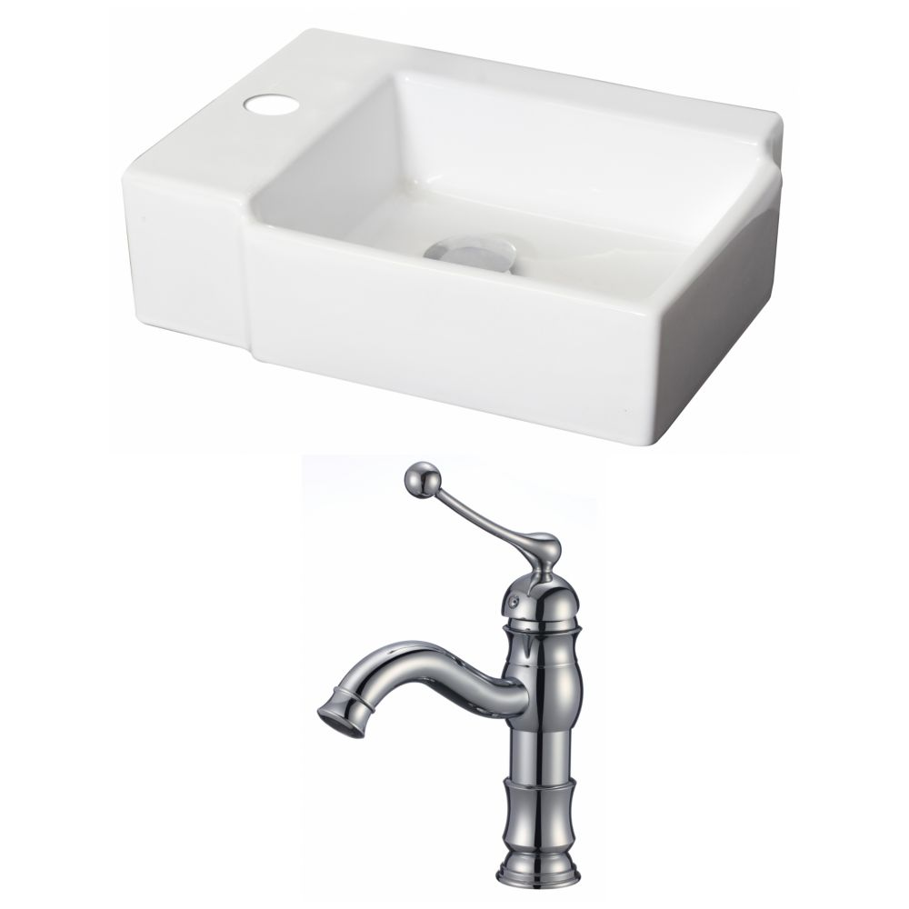 16.25-in. W x 12 po. D Rectangle navire Set In White Couleur Avec Single Hole CUPC Robinet