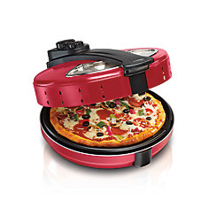 Pizza Maker - Cook Up To 12 Inch Pizza. Enclosed Lid, Viewing Window, Rotating Plate W/ Timer, Power/Heat Light