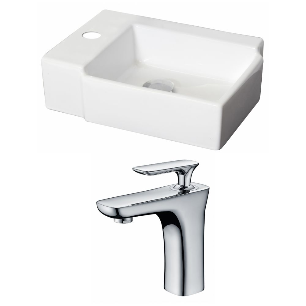 16 1/4-inch W x 12-inch D Rectangular Vessel Sink in White with Single-Hole Faucet