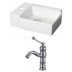 American Imaginations 16 1/4-inch W x 12-inch D Rectangular Vessel Sink in White with Single-Hole Faucet