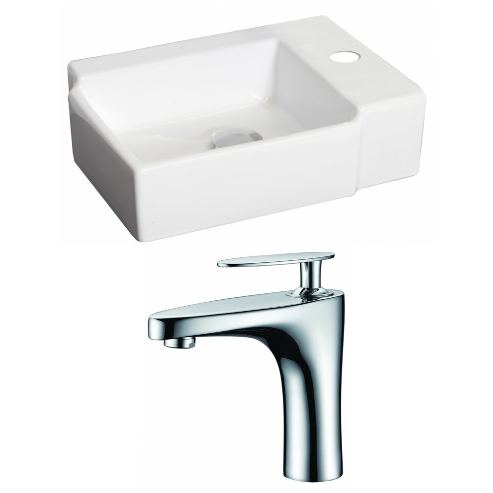 16.25-Inch W x 12-Inch D Rectangle Vessel Set In White Color With Single Hole CUPC Faucet AI-15210 Canada Discount