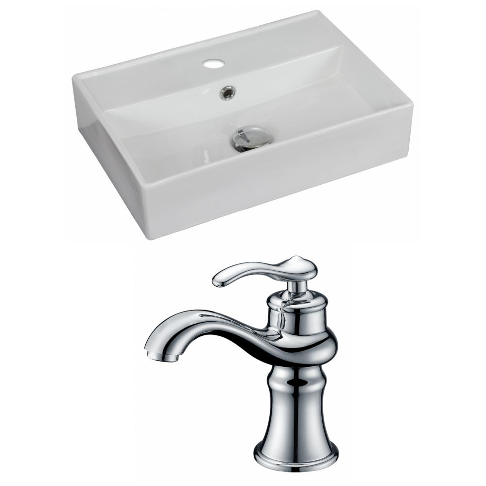 20-inch W x 14-inch D Rectangular Vessel Sink in White with Faucet