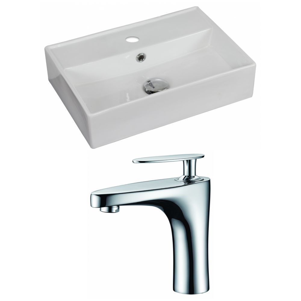 American Imaginations 20 Inch W X 14 Inch D Rectangular Vessel Sink In White With Faucet The
