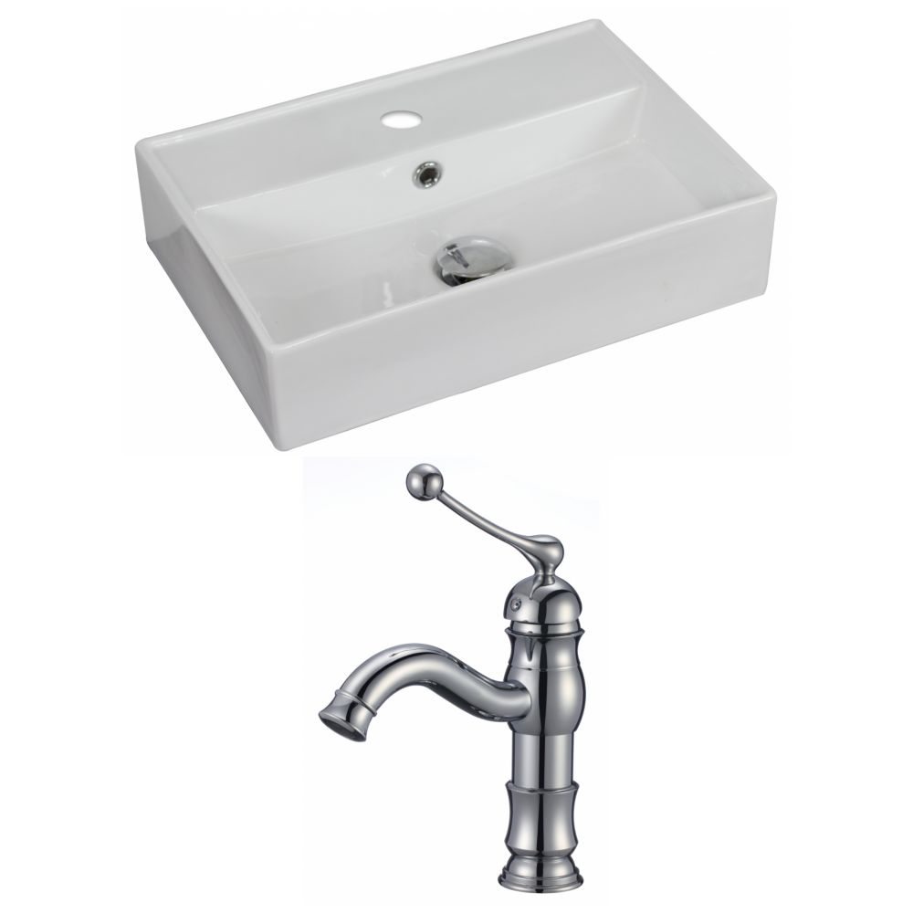 American Imaginations 20-inch W x 14-inch D Rectangular Vessel Sink in White with Faucet