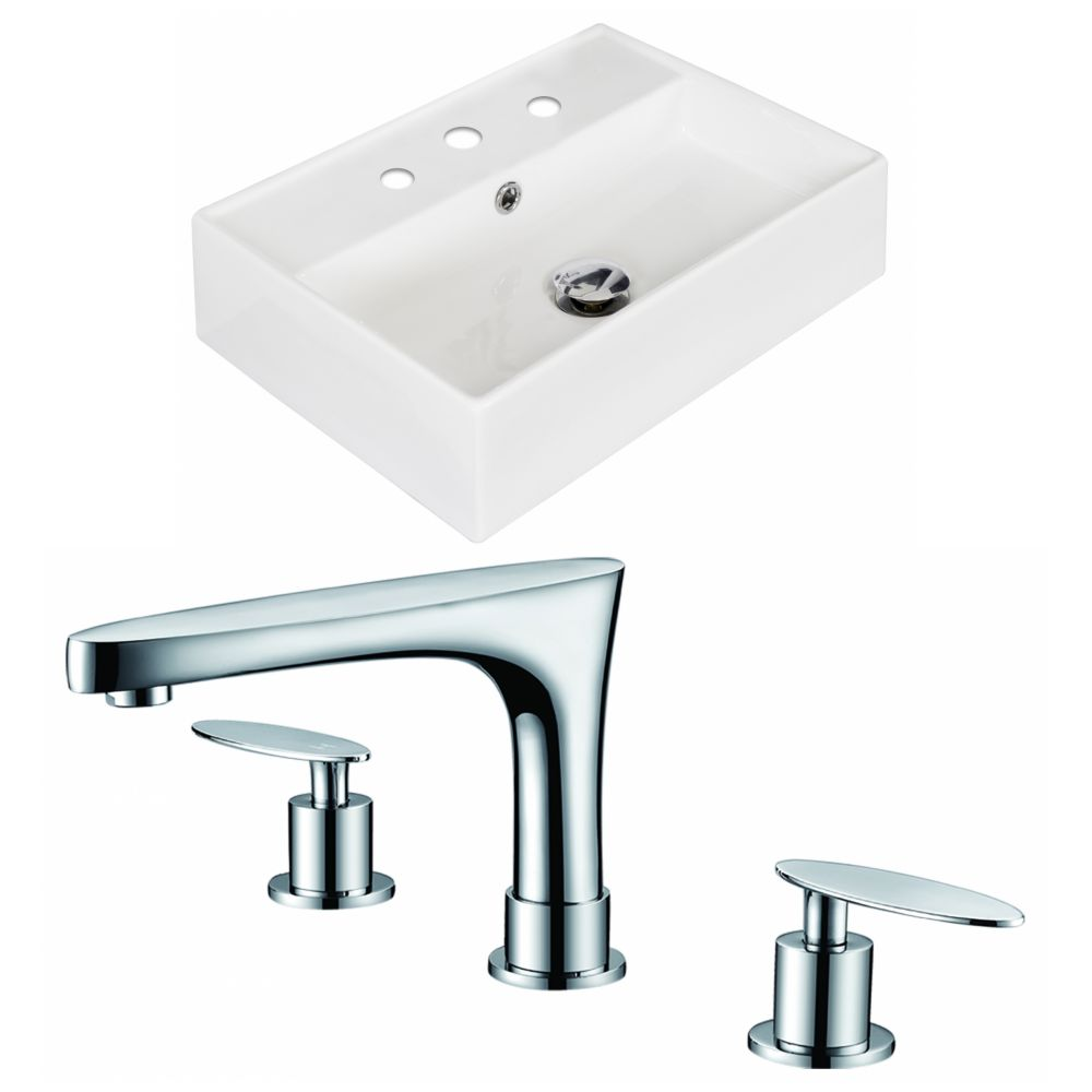 20-in. W x 14 po. D Rectangle navire Set In White Couleur Avec 8-in. O.C. Robinet CUPC