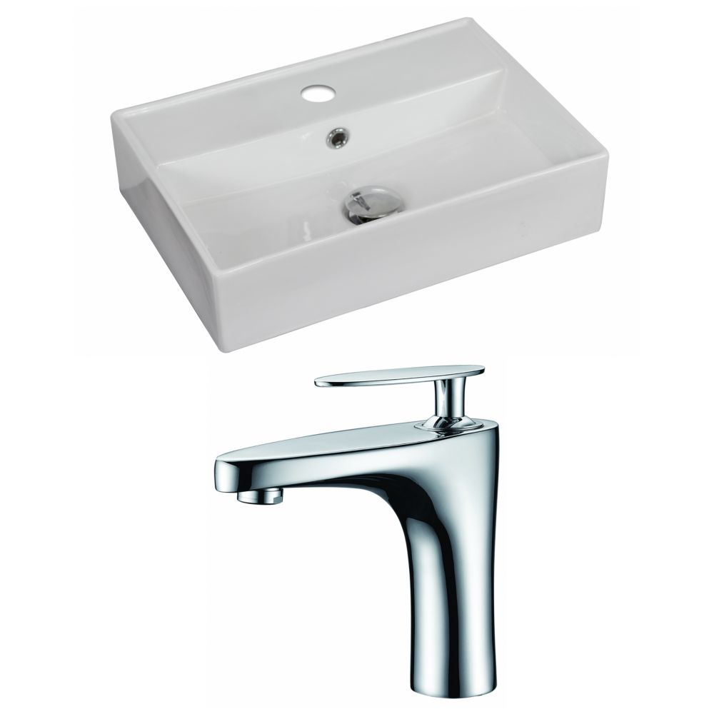 20-in. W x 14 po. D Rectangle navire Set In White Couleur Avec Single Hole CUPC Robinet