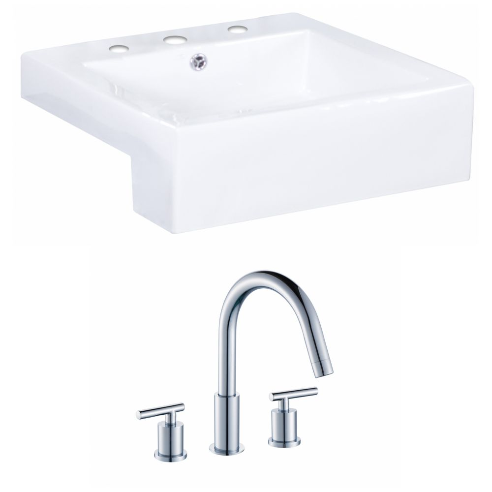 20-in. W x 20 po. D Rectangle navire Set In White Couleur Avec 8-in. O.C. Robinet CUPC