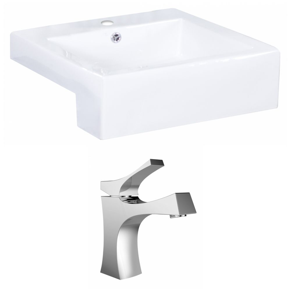 American Imaginations 20-inch W x 20-inch D Rectangular Vessel Sink in White with Faucet
