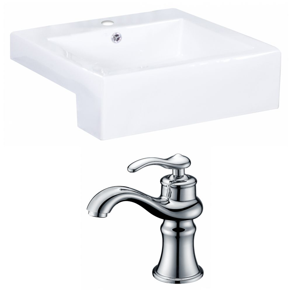 20-Inch W x 20-Inch D Rectangle Vessel Set In White Color With Single Hole CUPC Faucet AI-15251 Canada Discount
