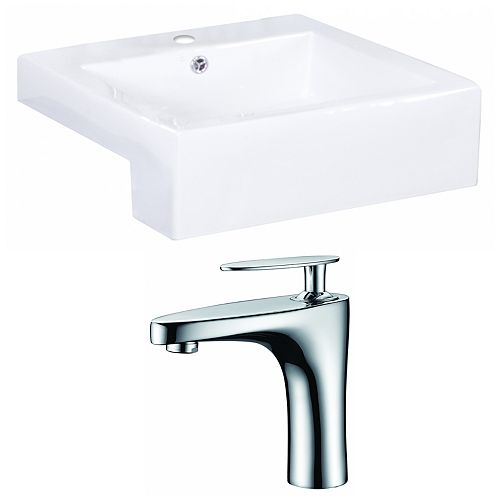American Imaginations 20-in. W x 20 po. D Rectangle navire Set In White Couleur Avec Single Hole CUPC Robinet