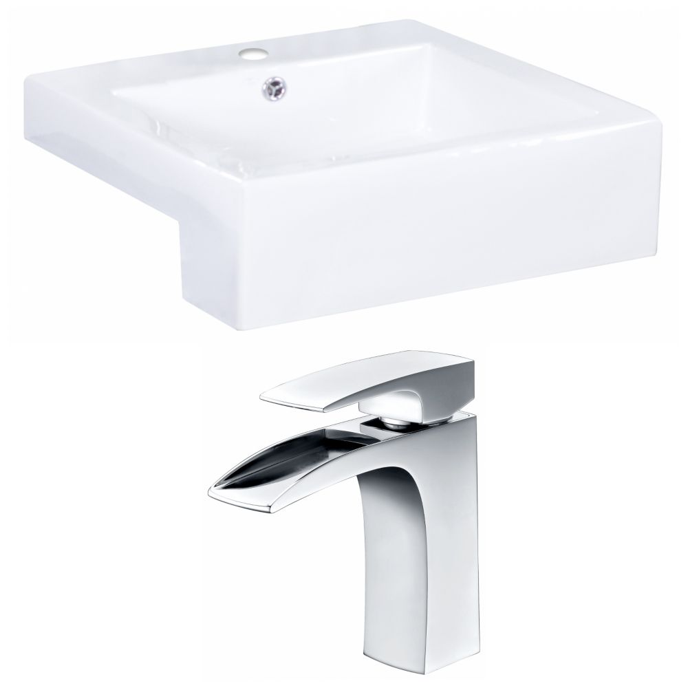 20-inch W x 20-inch D Rectangular Vessel Sink in White with Faucet