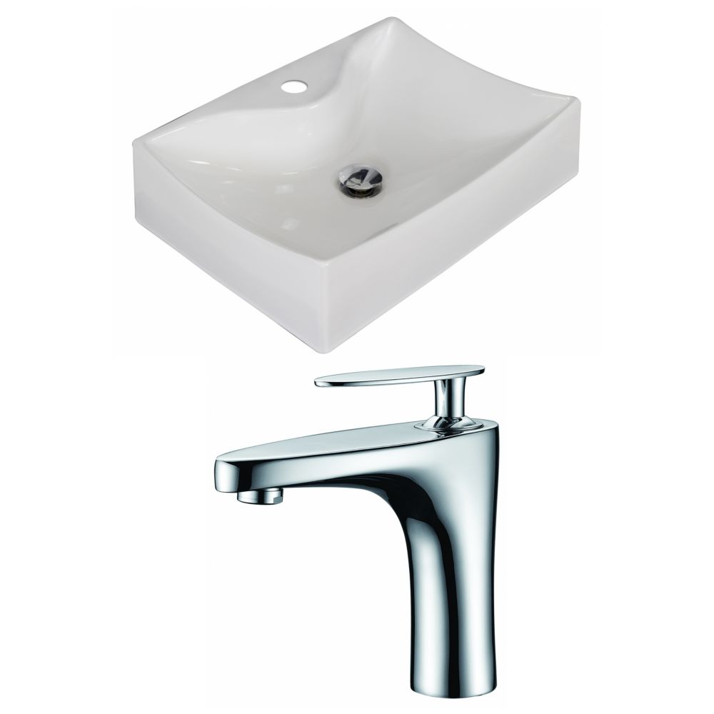 21.5-in. W x 16 po. D Rectangle navire Set In White Couleur Avec Single Hole CUPC Robinet