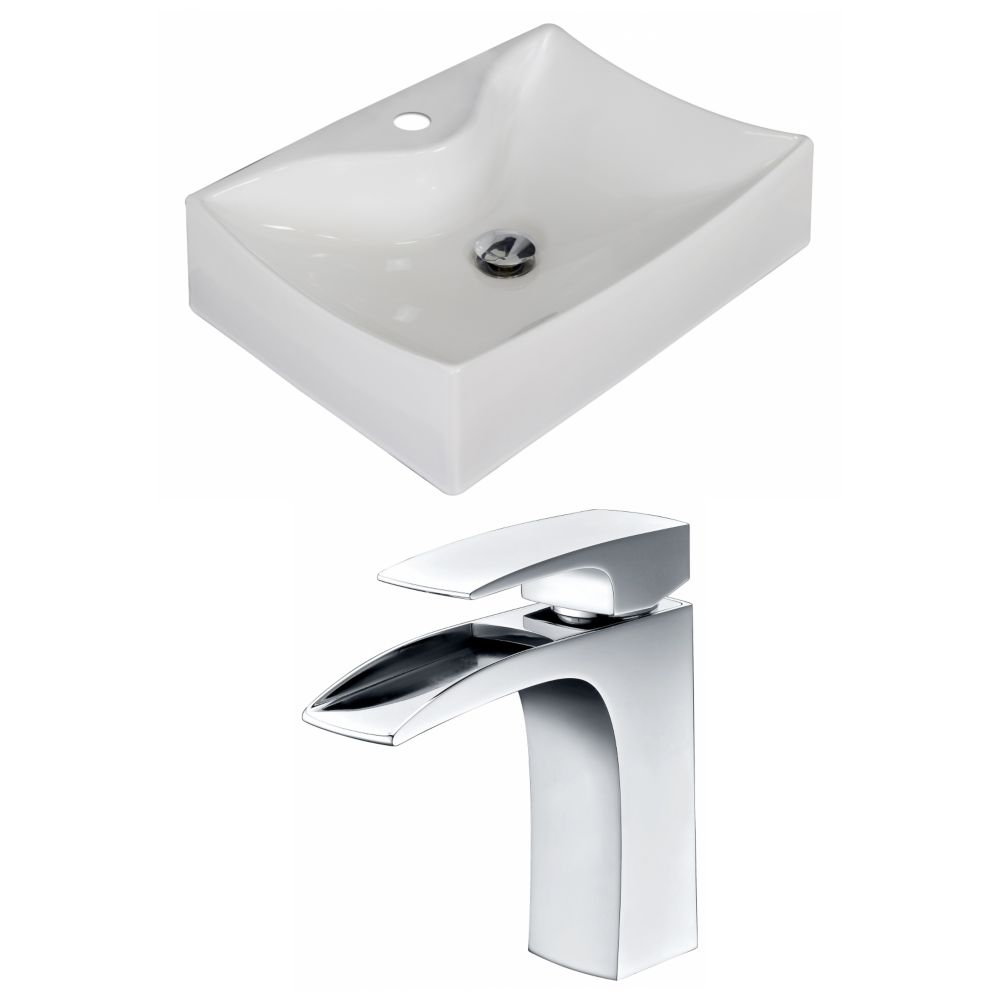 21 1/2-inch W x 16-inch D Rectangular Vessel Sink in White with Faucet