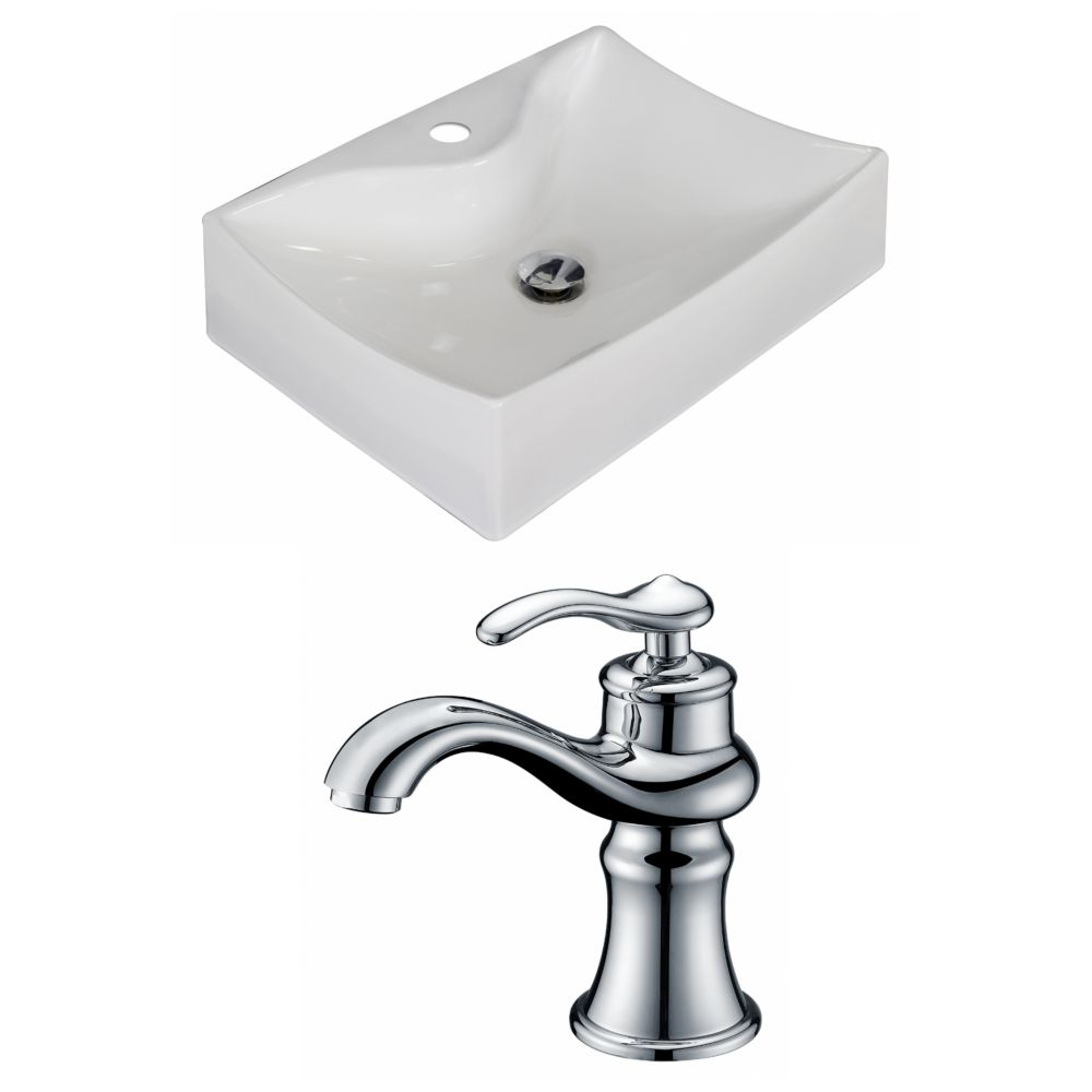 American Imaginations 21 1/2-inch W x 16-inch D Rectangular Vessel Sink in White with Faucet