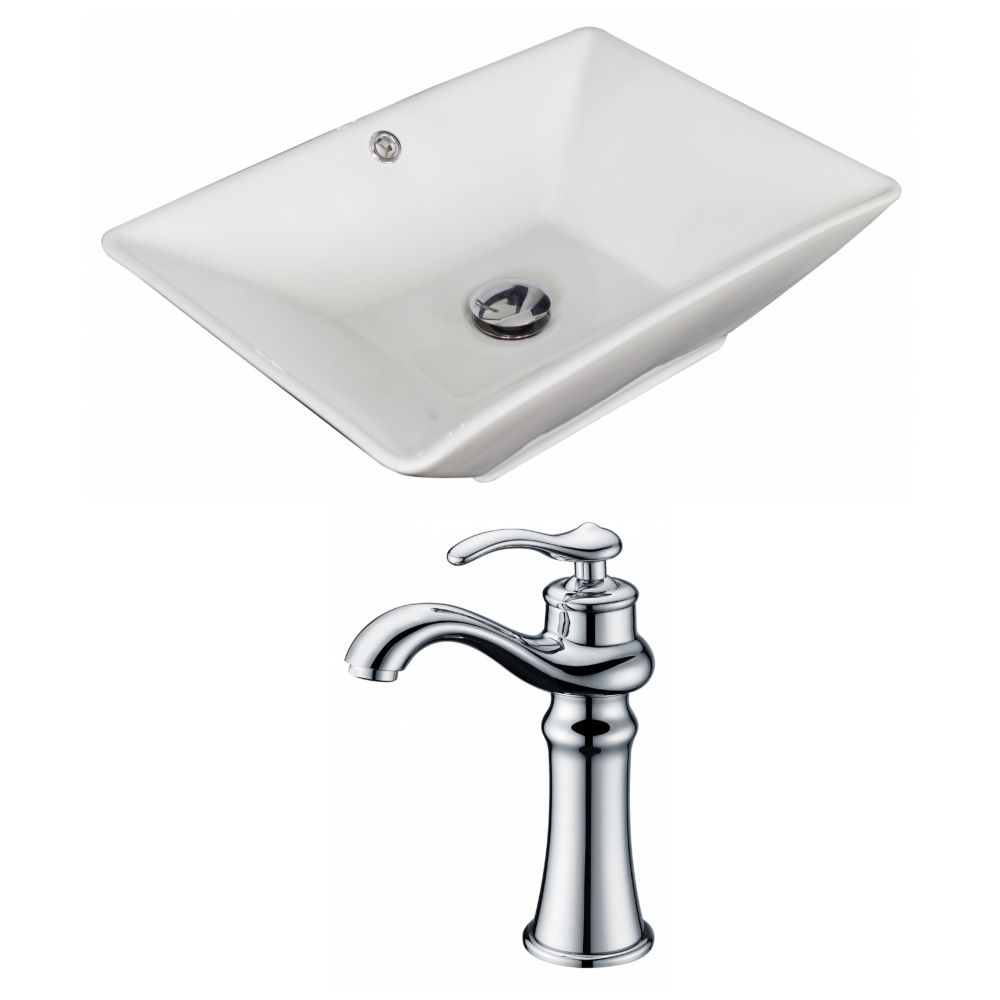 American Imaginations 21 1/2-inch W x 15-inch D Rectangular Vessel Sink in White with Faucet