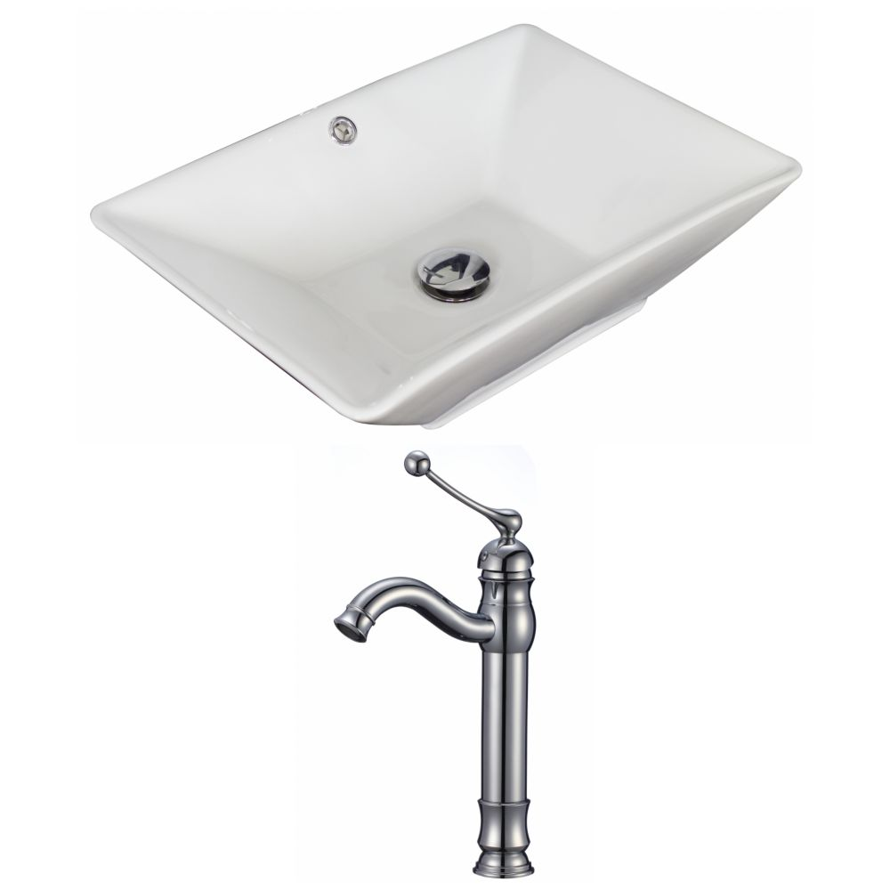 21 1/2-inch W x 15-inch D Rectangular Vessel Sink in White with Faucet