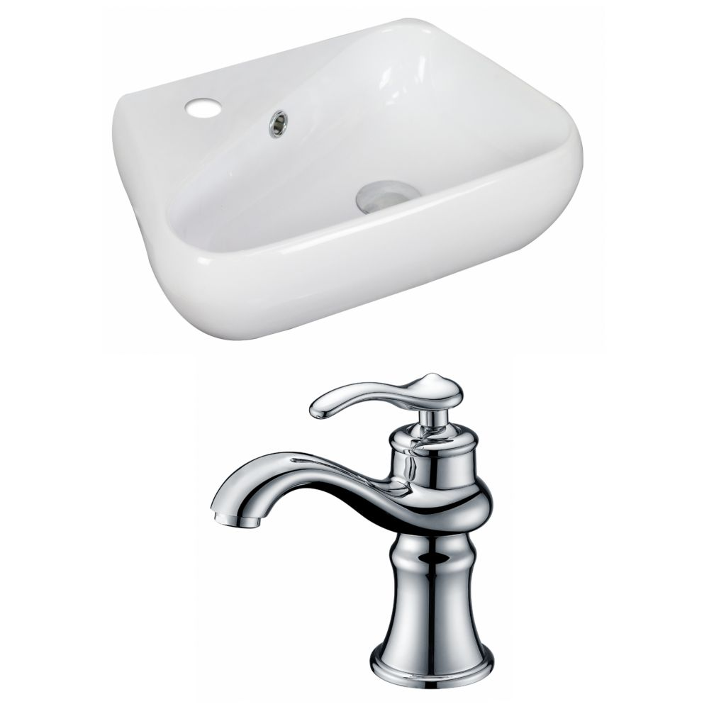 19-inch W x 11-inch D Vessel Sink in White with Faucet