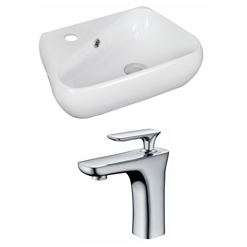 American Imaginations 19-inch W x 11-inch D Vessel Sink in White with Faucet