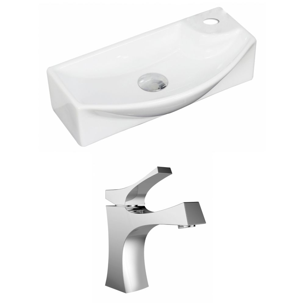18-inch W x 9-inch D Rectangular Vessel Sink in White with Faucet