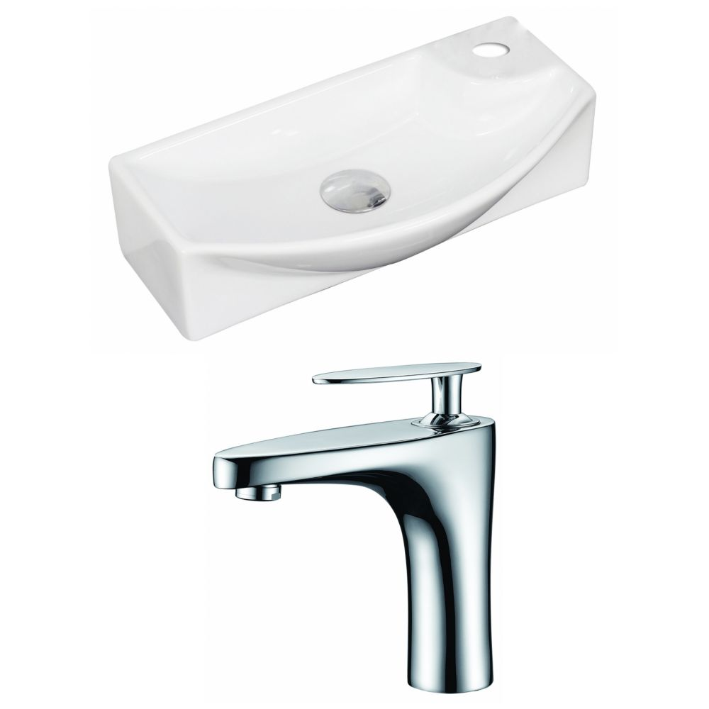 18-Inch W x 9-Inch D Rectangle Vessel Set In White Color With Single Hole CUPC Faucet AI-15346 in Canada