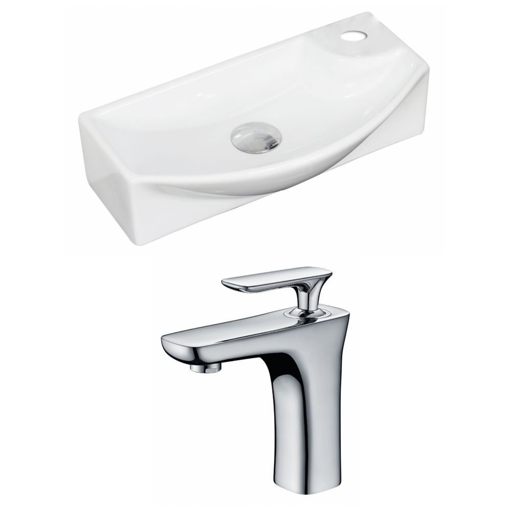 18-in. W x 9 po. D Rectangle navire Set In White Couleur Avec Single Hole CUPC Robinet