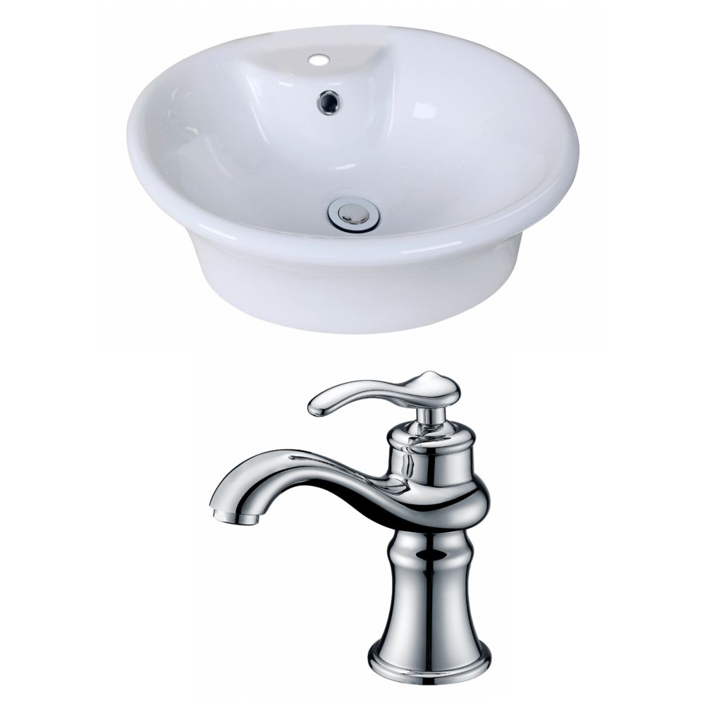 19-inch W x 15-inch D Oval Vessel Sink in White with Faucet