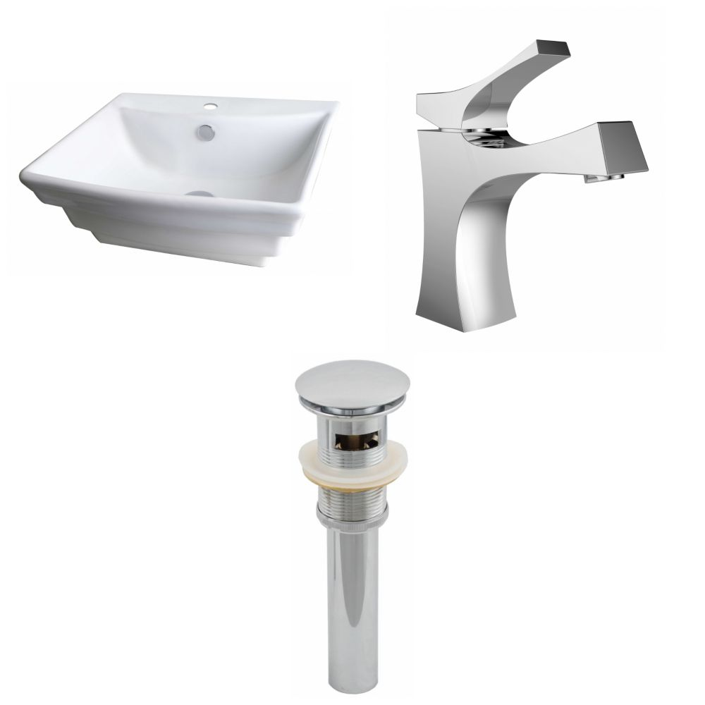 20-Inch W x 18-Inch D Rectangle Vessel Set In White Color With Single Hole CUPC Faucet And Drain AI-15361 Canada Discount