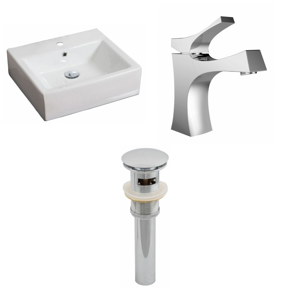 20-inch W x 18-inch D Rectangular Vessel Sink in White with Faucet and Drain