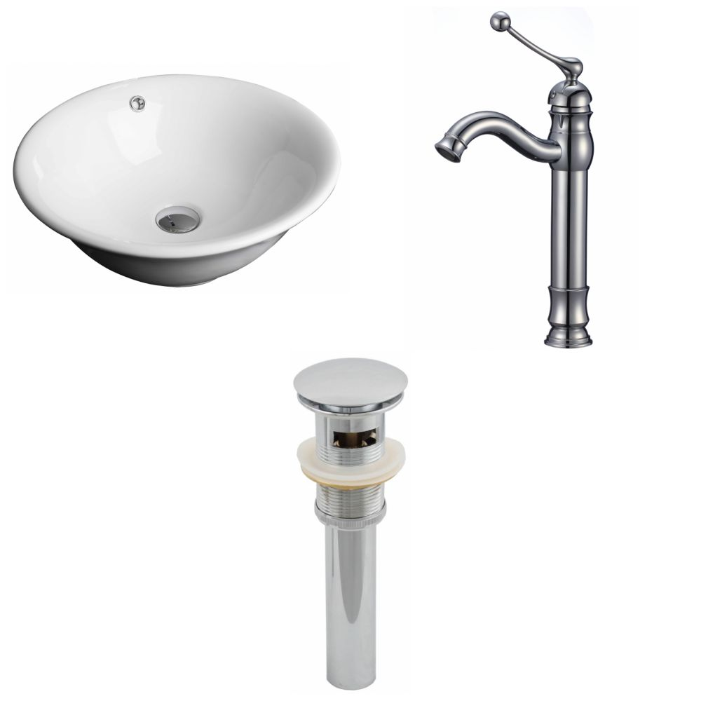 American Imaginations 18-inch W x 18-inch D Round Vessel Sink in White with Deck-Mount Faucet and Drain