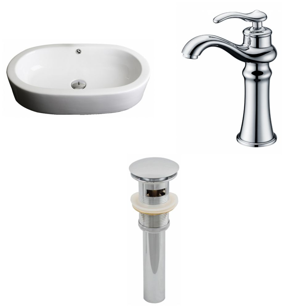 American Imaginations 25-inch W x 15-inch D Oval Vessel Sink in White with Deck-Mount Faucet and Drain